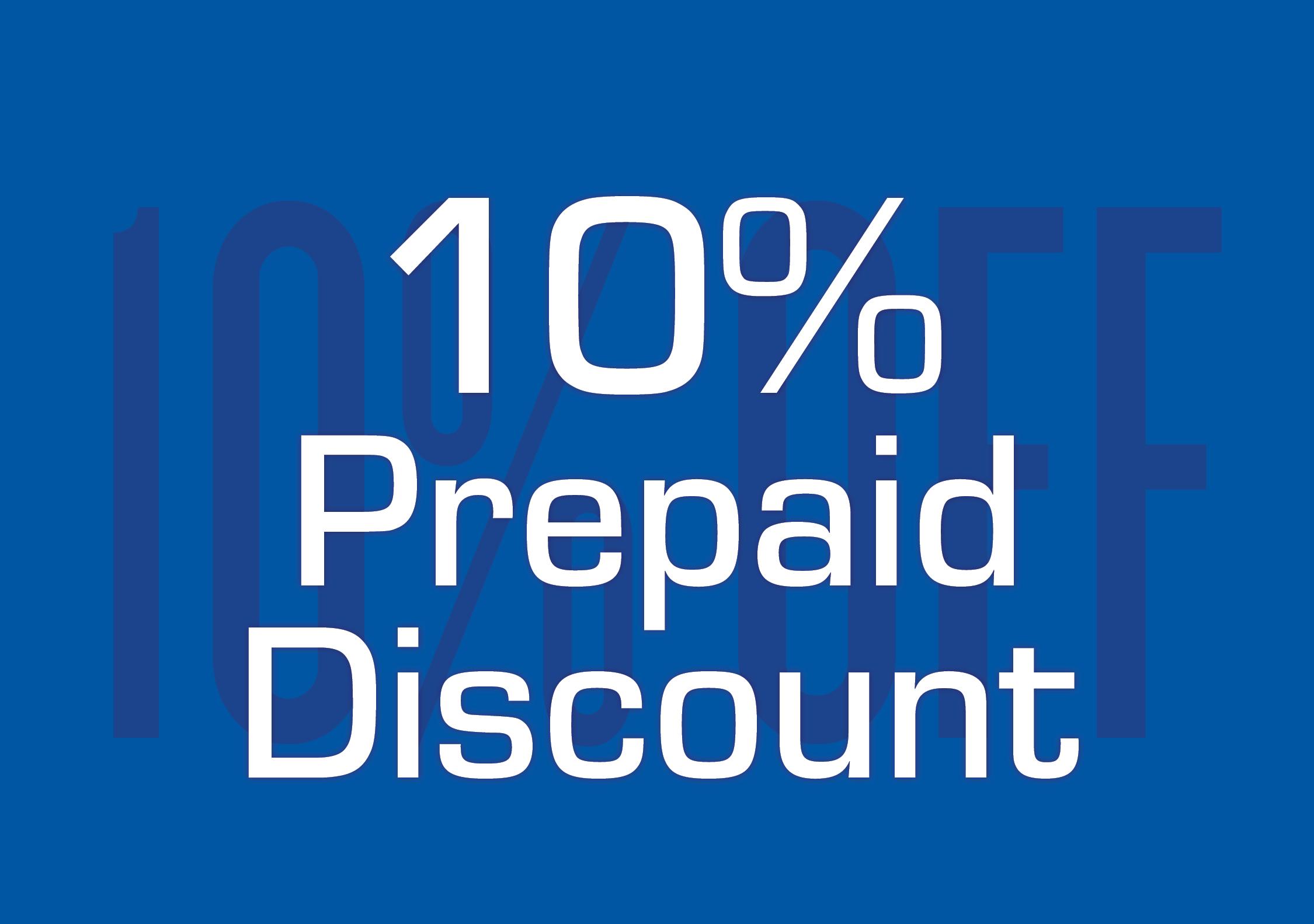 10% Prepaid Discount